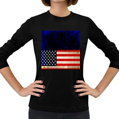 Grunge American Flag Background Women s Long Sleeve Dark T-Shirts