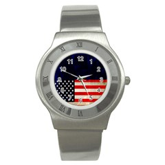 Grunge American Flag Background Stainless Steel Watch