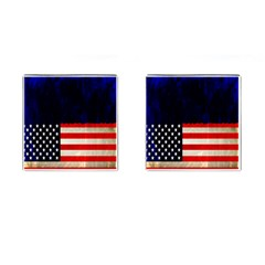 Grunge American Flag Background Cufflinks (square)
