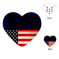 Grunge American Flag Background Playing Cards (Heart)