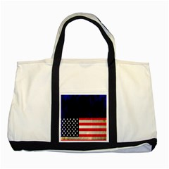 Grunge American Flag Background Two Tone Tote Bag