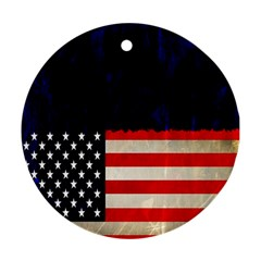 Grunge American Flag Background Round Ornament (two Sides)