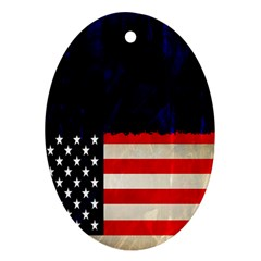 Grunge American Flag Background Oval Ornament (two Sides)
