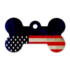 Grunge American Flag Background Dog Tag Bone (Two Sides)