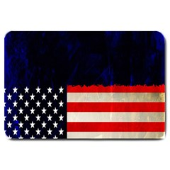 Grunge American Flag Background Large Doormat