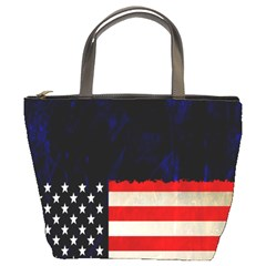 Grunge American Flag Background Bucket Bags