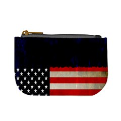 Grunge American Flag Background Mini Coin Purses