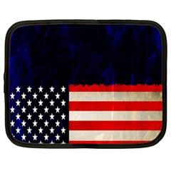 Grunge American Flag Background Netbook Case (XXL)