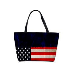 Grunge American Flag Background Shoulder Handbags
