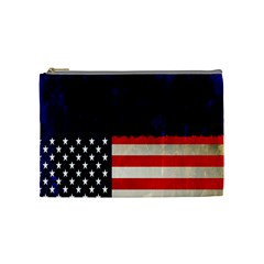 Grunge American Flag Background Cosmetic Bag (Medium)