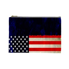 Grunge American Flag Background Cosmetic Bag (large)