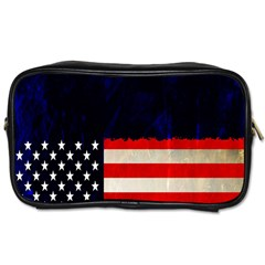 Grunge American Flag Background Toiletries Bags