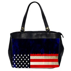Grunge American Flag Background Office Handbags (2 Sides)