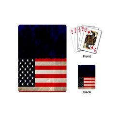 Grunge American Flag Background Playing Cards (Mini)