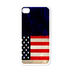 Grunge American Flag Background Apple Iphone 4 Case (white)