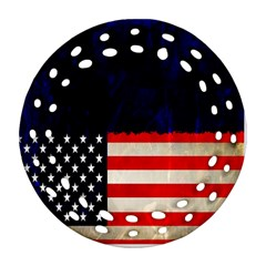 Grunge American Flag Background Ornament (Round Filigree)