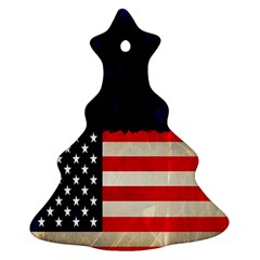 Grunge American Flag Background Christmas Tree Ornament (Two Sides)