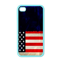 Grunge American Flag Background Apple Iphone 4 Case (color)