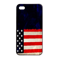 Grunge American Flag Background Apple iPhone 4/4s Seamless Case (Black)