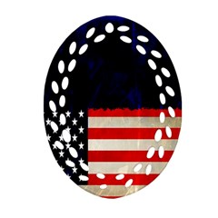 Grunge American Flag Background Ornament (oval Filigree)