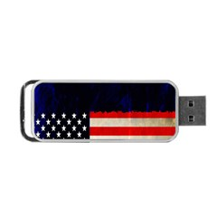 Grunge American Flag Background Portable Usb Flash (two Sides)