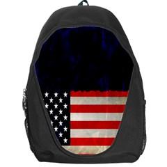 Grunge American Flag Background Backpack Bag