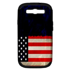 Grunge American Flag Background Samsung Galaxy S Iii Hardshell Case (pc+silicone)