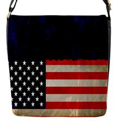 Grunge American Flag Background Flap Messenger Bag (S)