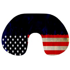 Grunge American Flag Background Travel Neck Pillows