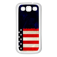 Grunge American Flag Background Samsung Galaxy S3 Back Case (White)