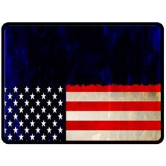 Grunge American Flag Background Double Sided Fleece Blanket (Large)