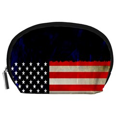 Grunge American Flag Background Accessory Pouches (large)