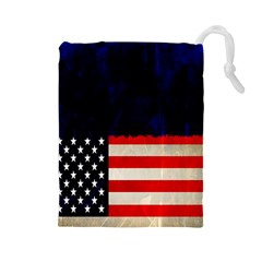Grunge American Flag Background Drawstring Pouches (Large)