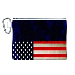 Grunge American Flag Background Canvas Cosmetic Bag (l)
