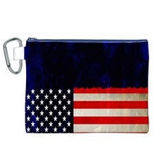 Grunge American Flag Background Canvas Cosmetic Bag (xl)