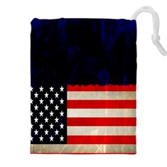 Grunge American Flag Background Drawstring Pouches (xxl)