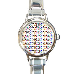 A Creative Colorful Background With Hearts Round Italian Charm Watch