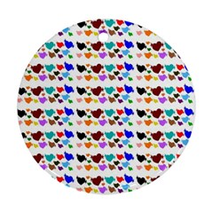 A Creative Colorful Background With Hearts Ornament (Round)