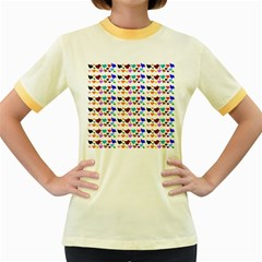 A Creative Colorful Background With Hearts Women s Fitted Ringer T Shirts