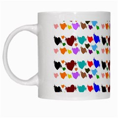 A Creative Colorful Background With Hearts White Mugs