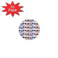 A Creative Colorful Background With Hearts 1  Mini Buttons (10 pack)