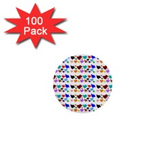 A Creative Colorful Background With Hearts 1  Mini Buttons (100 Pack)