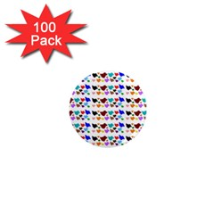 A Creative Colorful Background With Hearts 1  Mini Magnets (100 Pack)