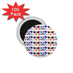 A Creative Colorful Background With Hearts 1.75  Magnets (100 pack)