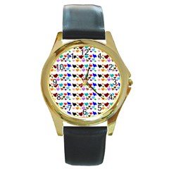 A Creative Colorful Background With Hearts Round Gold Metal Watch