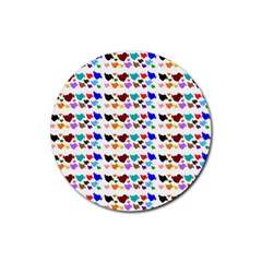 A Creative Colorful Background With Hearts Rubber Coaster (round)