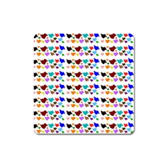 A Creative Colorful Background With Hearts Square Magnet