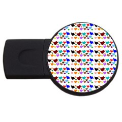 A Creative Colorful Background With Hearts USB Flash Drive Round (2 GB)