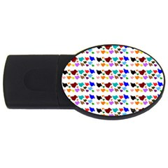 A Creative Colorful Background With Hearts USB Flash Drive Oval (2 GB)