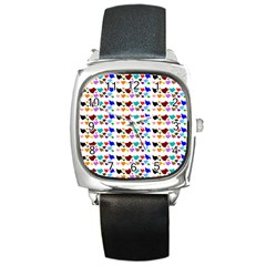 A Creative Colorful Background With Hearts Square Metal Watch